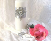 Unity Candle Set Silver Brooch Unity Candle Ivory Unity Candle Bling Unity Candle Art Deco Wedding Romantic Wedding Candle Stand Optional