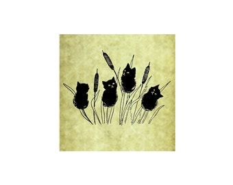 CATTAILS Rubber Stamp~Black Cats~Large Cling Stamp~Kitty Cat Tails~Cat Tails~Halloween~Thanksgiving~Fall~Autumn~Lakes (54-05SM)(54-17LG)