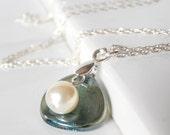 Pearl Bridesmaid Necklaces, Simple Wedding Jewelry, Seafoam Glass Flower Petal with Cream Swarovski Pearl on Sterling Silver Chain, Keepsake