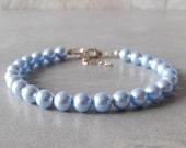 Set of 5 Pearl Bracelets, Light Blue Swarovski Pearl Wedding Jewelry Set of 5 Bracelets, Sterling Silver, Blue Bracelets, Bridal Jewelry