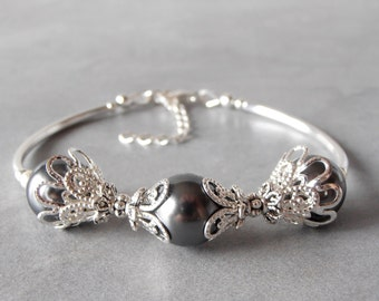 Bridesmaid Bracelet Gray Pearl Bracelet Silver Filigree Grey Beaded Bracelet Silver Wedding Jewelry Dark Grey Bridesmaid Gift Wedding Sets