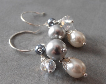 Gray Pearl Dangle Earrings, Bridesmaid Earrings, Gray and Ivory Bead Clusters, Beaded Wedding Jewelry, Pearl and Crystal Dangles, Handmade