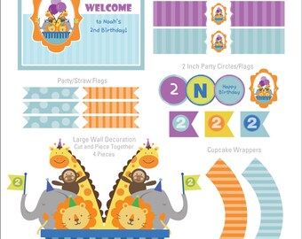 Noah's Ark Party Decorations, Noahs Ark Party Decor, Two by Two, Animals Birthday DIY Party Package by MayDetails: Full Collection Party Kit