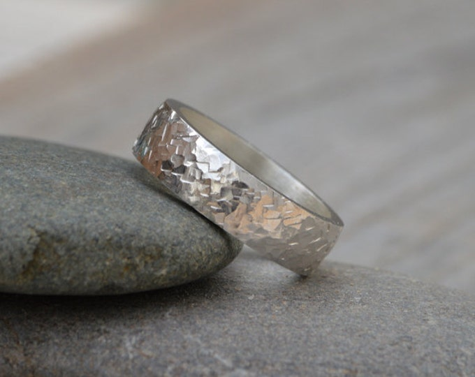 Textured Wedding Band 5.5 mm Wide In Sterling Silver, Personalized Rustic Wedding Ring, Special Wedding Band, Ring For Him, Unisex Ring