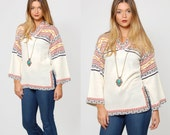Vintage 70s HIPPIE Sweater Printed TRIBAL Pullover Sweater BELL Sleeve Knit Tunic Sweater Boho Jumper