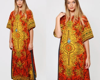 Vintage 70s Caftan Orange Printed Hippie Maxi Dress TIBETAN Caftan MANDALA Print Boho Dress