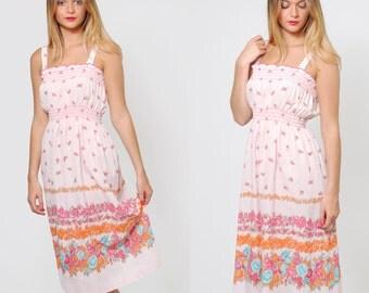 Vintage 70s Pink FLORAL Sun Dress Sleeveless GRADIENT Floral Dress Blouson Midi Dress Hippie Sundress