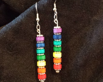 Seven Chakra Dangle Drop Rainbow Paper Quilled Earrings