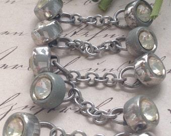 Vintage Rhinestone Cufflinks, Buttons