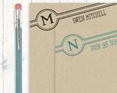 personalized notePAD - DIAGONAL RETRO MONOGRAM - kraft notepad - stationery - stationary - monogrammed notepad - choose color
