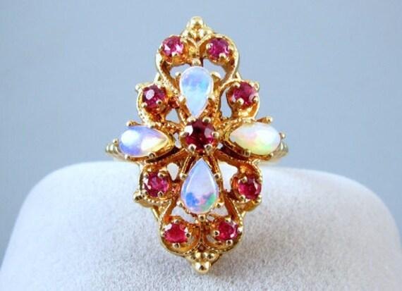 Vintage estate 14k gold opal ruby statement cocktail navette ring