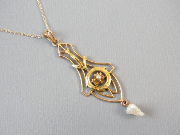 Antique Edwardian 10k gold seed pearl lavalier pendant necklace