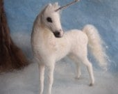 Needle Felted Unicorn White Poseable
