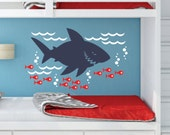 Shark wall decal - includes fish bubbles and ocean waves - great white shark wall decal - ocean beach summer theme wall decals for bedroom