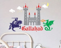 Knight with castle and dragon wall decal - fairytale medieval themed wall decal set - fire breathing dragon - knight on horse - princess set