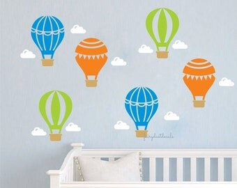 Hot Air Balloons wall decals, white clouds, nursery wall decals, balloon  wall decals, hot air balloon, airplane wall decals, balloon sticker