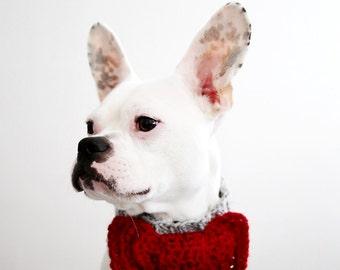 Custom Bow Tie Dog Collar - Bow Tie Dog Neck Warmer - Pug Scarf - Pug Neck Warmer - French Bulldog Clothing