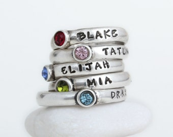 Stackable Rings Stamped with Name and Birthstone, Personalized Stack Name  Ring with Birthstone, Stamped Mother's Ring Perfect Gift for Mom