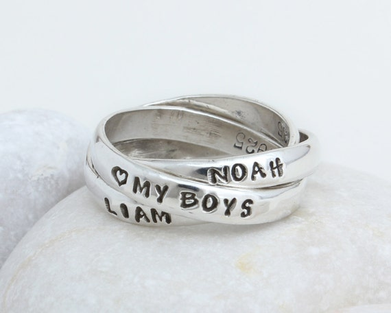 personalized mother 39 s ring stamped ring triplet ring. Black Bedroom Furniture Sets. Home Design Ideas
