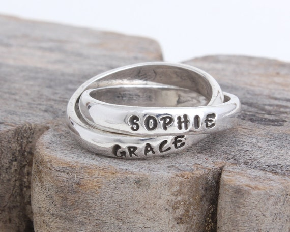 items similar to stamped ring personalized mother 39 s ring. Black Bedroom Furniture Sets. Home Design Ideas