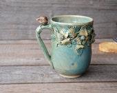 "Stoneware Tea Cup ""Nightingale"" -    MADE TO ORDER - Handmade Stoneware Ceramics - green - mug"