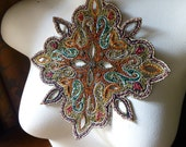 Beaded Applique Exquisite in Multicolored Gold for Lyrical Dance, Handbags, Belly Dance Costumes, Home Decor.
