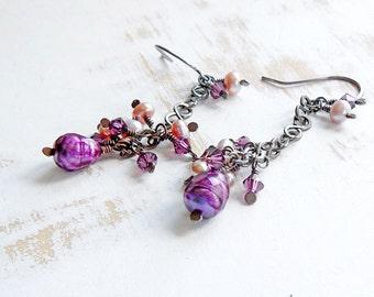 Purple Chain Drop Earrings, Copper Wire Jewelry, Pearl Cluster Earrings, Boho Cascade Earring, Hand Crafted Artisan Jewellery
