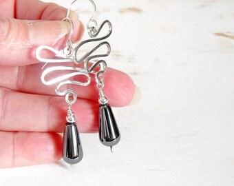 Sterling Silver and Hematite Earrings, Geometric Jewellery, Statement Earrings, Artisan Jewellery, Hand Forged Earrings, Black Drop Earrings
