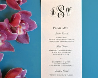 Classic Monogram Dinner Menu, Tea Length Flat Wedding Menus - 4 x 8""