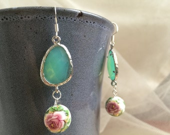Green Glass Encased in Rodium with Tensha Floral Bead Earrings, Teal and Pink Wedding Earrings, Party Jewelry