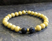 Yellow Beaded Charity  Bracelet Stretch Diffuser Bracelet Yellow Stretch Beaded Bracelet Boho Bracelet, Lave Stone Bracelet Yellow and Black