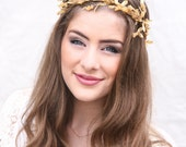 Gold Bohemian Wedding Wreath bridal Crown Headpiece of Golden Leaves and Sparkle Gold Flower Crown Headband Boho Wedding