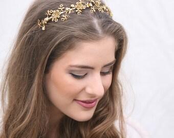 Gold Metal Flower Headband Wedding Headpiece, Metal Headband for Adults, Gold Hair Accessory Flower Crown Tiara with Rhinestones