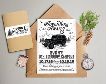 PRINTABLE Jeep Wilderness Adventure Camping Birthday for Boy or Girl Unisex Boy Scout Girl Scout Sleepover Party Invitation or Evite