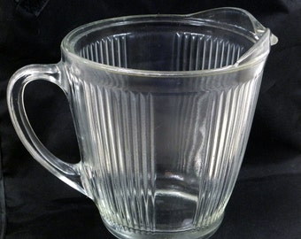 Ekco Ribbed Clear Glass 1920s Quart Pitcher No. 7216, Vintage Kitchen Utensil, Baking, Measuring, Collecting or Display