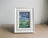Framed Postage Stamp Art - Upcycled Blue Green Abstract landscape Collage, Office Desk Decor, Boho Bohemian Eclectic Mail Art Travel Gift