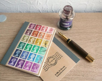 Recycled Rainbow Journal, Lined Kraft Writing Notebook | upcycled British Machin postage stamp art | retro hipster stationery writer gift