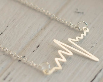 Heart Beat necklace. Pulse necklace, simple jewelry, life symbol, be alive necklace, Nurse graduate gift