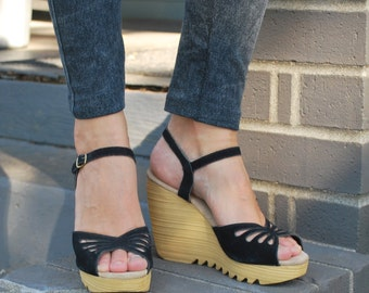 Vintage Black Suede Platform Wedge Sandals