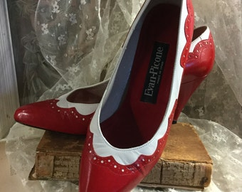 Uber Chic Evan-Picone Red and White Spectator Pumps High Heels