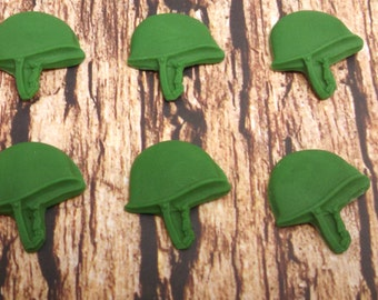 Fondant Army Toppers-Edible Military Toppers-Military Toppers-Army Toppers-Army Cupcake Toppers-Military Helmets-Military Cupcake Toppers