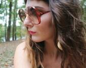 Oversized Vintage Burnt Orange and Cream Dorothy Kahn Sunglasses