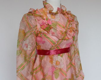 60's Pink Floral Prom Dress / Empire Waist /  Long Sleeves / XSmall