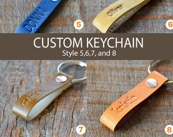 CUSTOM LEATHER KEYCHAIN  -   Style 5, 6, 7 and 8
