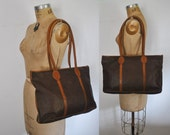 Brown Market Leather Tote / large Bag / woven purse