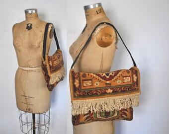 1960s Carpet Bag / floral Handbag / tapestry purse