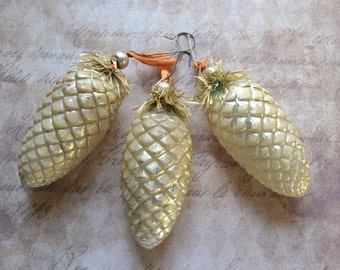 Vintage Glass Pine Cone Christmas Ornaments with Tinsel Trim