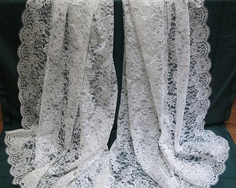 Vintage Chantilly Lace Bridal Train 1960s Mantilla Veil 11 Feet Long Portuguese Lace