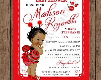 Custom Printed Shabby Chic - Antique - Vintage - African American Ladybug Baby Shower Invitations - 1.00 each with envelope