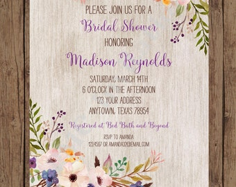 Custom Printed Floral Boho Bridal Shower Invitations - Bridal Party Invitation - 1.00 each with envelope